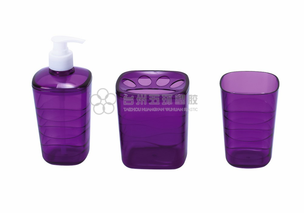 Custom 3 Piece Purple transparent Plastic Bath Set