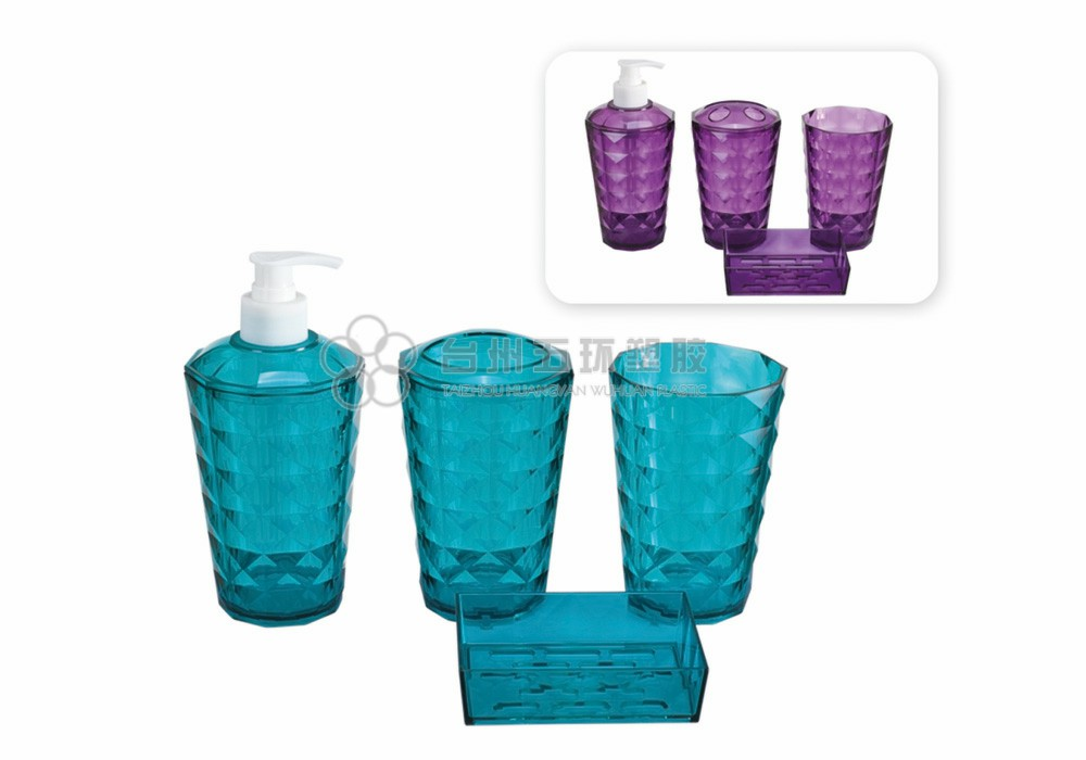 Blue Plastic Bathroom 4 Piece Sets