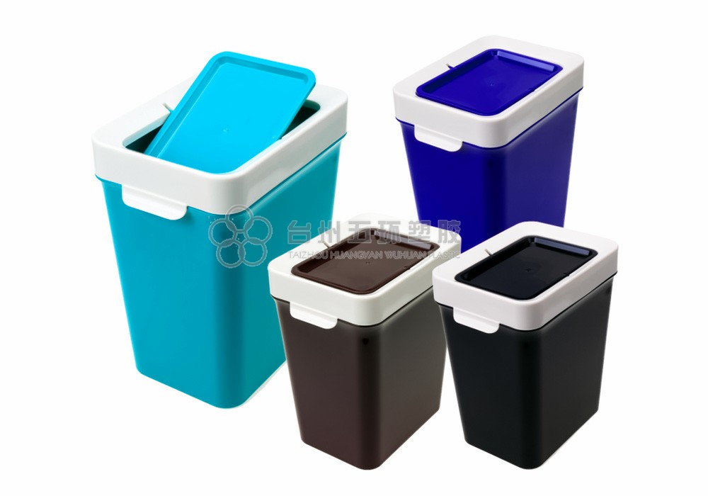 Rectangular household dustbin with cover