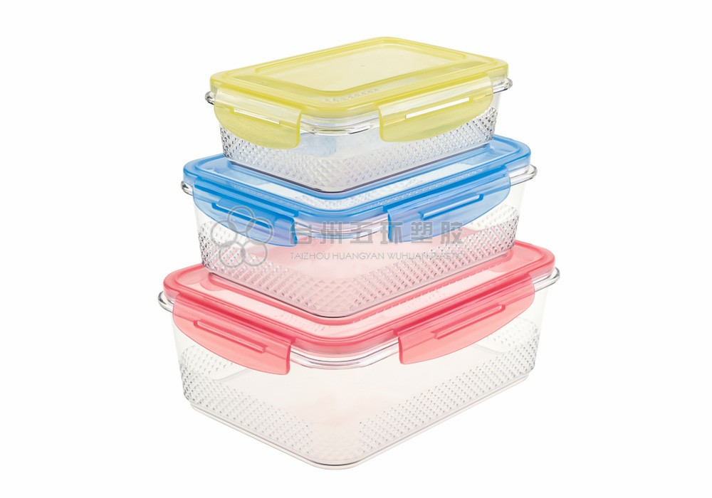 plastic 3 pcs containers with lids for food storage