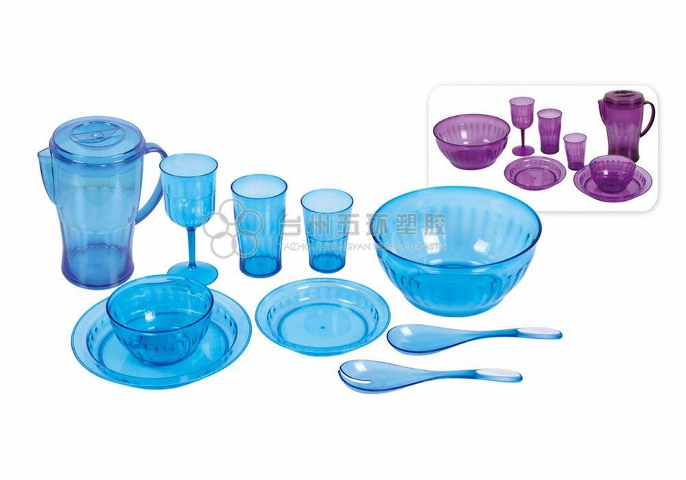 Plastic Blue Transparent Tableware Set