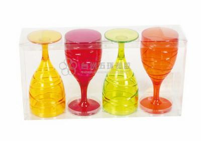 4pcs plastic wine goblets set