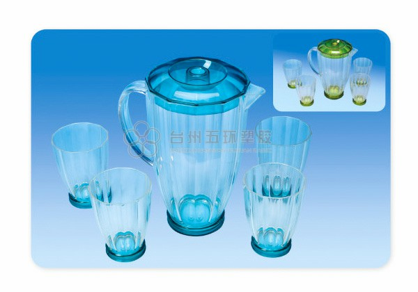 Plastic Pitcher Set With 4 Tumblers Cups