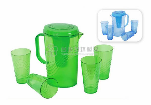 plastic pitcher with cups